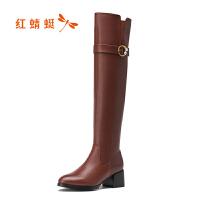 红蜻蜓冬季女靴长靴过膝长筒靴真皮骑士靴高跟女鞋保暖鞋加绒