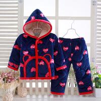三层夹棉儿童睡衣冬季加厚法兰绒宝宝小孩珊瑚绒家居服套装连帽女