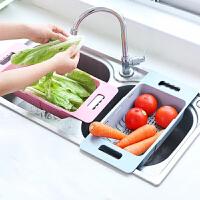 水槽沥水架 家用可伸缩水槽沥水架塑料放碗筷架子家用厨房碗碟架蔬菜收纳架