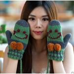 加厚保暖可爱卡通户外连指手套  韩版全指毛线手套女