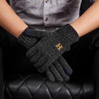 触屏手套男士冬季加厚加绒保暖针织毛线骑车防寒开车韩版中老年