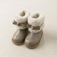 davebella戴维贝拉童装冬季新款女童靴子宝宝加绒保暖棉靴DB11907