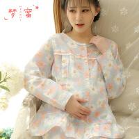 梦蜜 雏菊小清新 纯棉纱布月子服 春夏季孕妇睡衣 产妇喂奶家居服