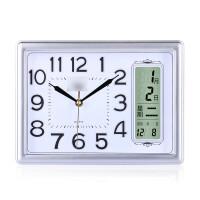 方形家居座钟表客厅卧室万年历日历时钟创意石英钟现代电子台挂钟墙面装饰挂钟 银灰色 日历款