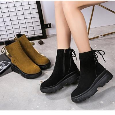 马丁靴学生英伦风女鞋雪地靴短靴女2018秋冬新款女靴松糕厚底原宿 黑色
