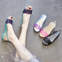 夏季新款坡跟妈妈凉鞋女果冻鞋沙滩洞洞鞋鱼嘴防滑水晶塑料凉鞋女