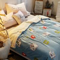 双层仿羊羔绒法兰绒毛毯被子加厚保暖珊瑚绒毯子冬季单人学生午睡毯k 200x230cm 双人毯