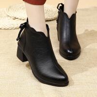 妈妈鞋女冬加绒保暖中年大码短靴软底滑中老年女鞋 C5081-8黑色