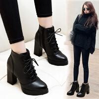 高跟短靴女2018秋冬时尚马丁靴女水台粗跟韩版小跟系带靴子女