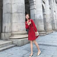 卡贝琳女2019新款秋季法式复古裙山本红色雪纺连衣裙女春超仙小个子高腰a字裙子女