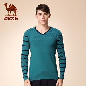 骆驼男装 新款微弹套头V领提花毛衣 商务休闲长袖毛衣 男士