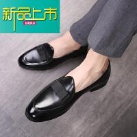 新品上市韩版时尚休闲小皮鞋男士青年潮流一脚蹬影楼演出夜店型师男鞋潮