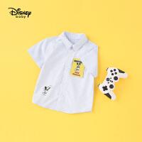 【2件3折价:72.9】迪士尼宝宝快乐星球男童梭织时尚短袖衬衫夏季新品