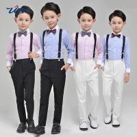 小学生儿童花童礼服新款男童背带裤套装宝宝钢琴演出服主持人表演服