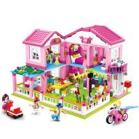 快乐小鲁班积木legao玩具女孩益智拼装花园别墅房子城堡