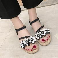 凉鞋 女士平底花朵仙女风沙滩鞋2019夏季新款韩版时尚女式休闲洋气凉鞋女鞋凉拖