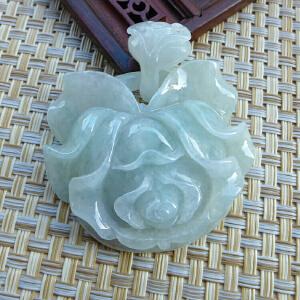 老坑缅甸天然翡翠精雕花开富贵吊坠 配A货证书J912-FHO-EDD