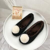 鞋子女冬季毛毛鞋加绒保暖圆头平跟软底棉鞋毛球豆豆鞋瓢鞋单鞋潮