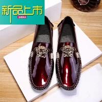 新品上市潮男豆豆鞋亮色漆皮套脚懒人鞋舒适美杜莎男休闲皮鞋