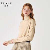 森马毛衫女士高领套头针织衫2019冬季新款纯色柔软保暖打底毛衣女