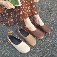 复古英伦风百搭女士单鞋 新款一脚蹬懒人鞋子女 时尚休闲豆豆鞋女平底