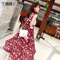 七格格红色连衣裙女夏装2019新款法式小众裙子中长款小清新雪纺裙