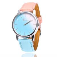 韩版时尚小清新皮带手表女表 糖果色渐变色学生手表