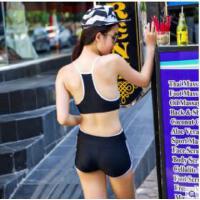 时尚游泳衣女运动分体比基尼三件套学生小胸钢托聚拢温泉保守泳装
