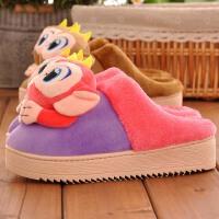 秋冬季防滑居家室内女棉鞋包跟厚底可爱家用保暖家居儿童毛毛拖鞋