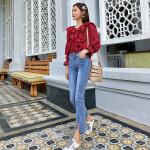 卡贝琳女2019新款秋装法式少女复古红色格子衬衫女韩版V领心机上衣设计感衬衣女