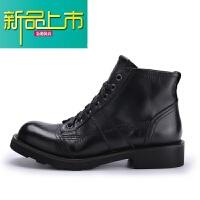 新品上市欧美手工鞋真皮圆头工装短靴沙漠靴系带厚底户外靴复古潮流马丁靴