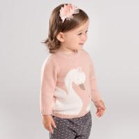 davebella戴维贝拉童装秋新款女童针织衫宝宝卡通毛衣DBM11684