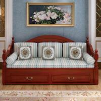 欧式沙发床实木可推拉坐卧两用单双人多功能可叠小户型沙发床 1.8米-2米