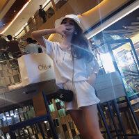 套装女夏新款韩版收腰显瘦显高连帽短袖卫衣配洋气短裤两件套