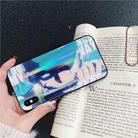 海贼王路飞索隆iPhone8plus手机壳苹果X玻璃壳xs max创意xr镭射7P保护套6s动漫卡通 6/6S(4.7