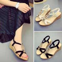 夏天鞋子女坡跟凉鞋女夏季新款韩版波西米亚沙滩平底女鞋