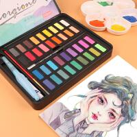 固体水彩颜料36色套装初学者学生美术考试便携画笔手绘水粉饼铁盒分装画画工具绘画成人留白液