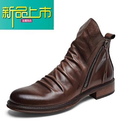新品上市爱得堡英伦男士皮靴拉链休闲潮男靴 高帮真皮骑士机车靴马丁靴男   新品上市,1件9.5折,2件9折