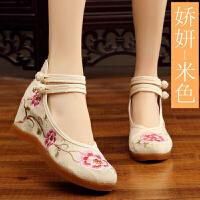 布鞋女2018新款绣花鞋女内增高时尚古风鞋子女汉服鞋高跟