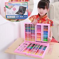 儿童画笔蜡笔水彩笔套装创意生日礼物画画小学生女孩美术绘画工具 168粉色 画本礼袋