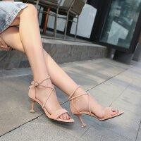 小清新高跟鞋凉鞋交叉绑带中跟5cm细跟鱼嘴夏季绒面粉色学生宴会