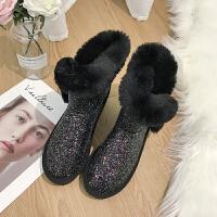 雪地靴女短筒2018冬季新款韩版保暖百搭学生时尚亮片防滑加绒棉鞋