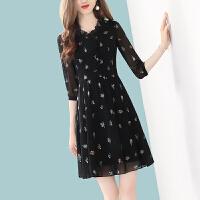 【现货秒发】2020春季新款V领黑色印花雪纺连衣裙女显瘦中长款A字裙