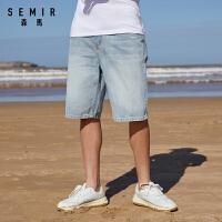 森马牛仔短裤男2021夏季新款潮流宽松五分裤复古时尚裤子男装学生