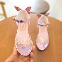 儿童凉鞋透明蝴蝶宝宝凉鞋公主鞋女童