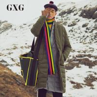 【新款】GXG男�b 冬季男士�瘟?垭p插袋��G色�L款保暖羽�q服外套