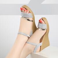 凉鞋女夏甜美中跟牛筋底新款坡跟软底妨舒适鱼嘴妈妈女鞋潮