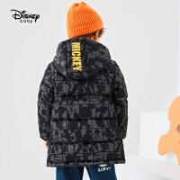迪士尼男童中长款工装羽绒服秋冬新款童装帅气连帽儿童宝宝外套