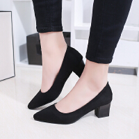 职业高跟鞋女黑色粗跟方根3-5厘米尖头磨砂显瘦单鞋工作鞋舒适nv