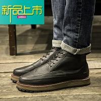新品上市秋季高帮鞋男复古休闲增高雕花皮鞋高邦英伦百搭时尚男鞋潮